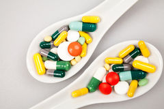 Composition with colorful pills Royalty Free Stock Images