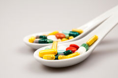 Composition with colorful pills Royalty Free Stock Photos