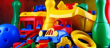 Composition with colorful plastic children toys stock image