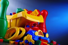 Composition with colorful plastic children toys royalty free stock images