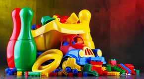 Composition with colorful plastic children toys royalty free stock photo