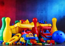 Composition with colorful plastic children toys stock photography