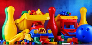 Composition with colorful plastic children toys stock photos