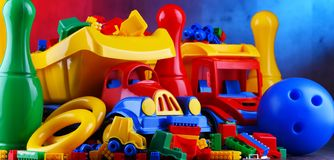 Composition with colorful plastic children toys stock images