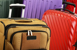 Composition with colorful travel suitcases stock photography