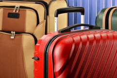 Composition with colorful travel suitcases Stock Photo