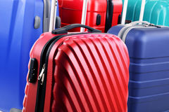 Composition with colorful travel suitcases Royalty Free Stock Photos