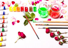 The composition of colors, paints, brushes. Stock Images