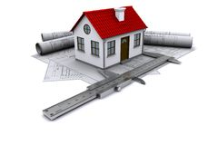 Composition of construction drawings Royalty Free Stock Photo