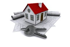 Composition of construction drawings and keys Stock Images
