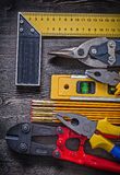 Composition of construction tooling on wooden Royalty Free Stock Photography