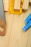 Composition of construction tools with copyspace Royalty Free Stock Photography