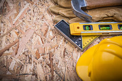 Composition of construction tools on OSB maintenance concept Stock Photography
