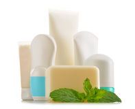 Composition with containers of body care and beauty products Stock Image