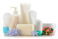 Composition with containers of body care and beauty products Royalty Free Stock Images