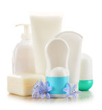 Composition with containers of body care and beauty products Stock Photography