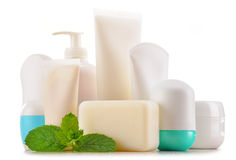 Composition with containers of body care and beauty products Stock Photos