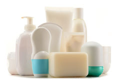 Composition with containers of body care and beauty products Royalty Free Stock Image