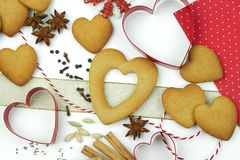Composition of cookies and spices. Composition of heart shape cookies and spices royalty free stock image
