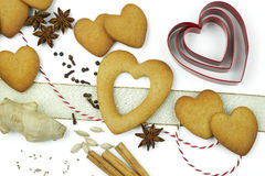 Composition of cookies and spices. Composition of heart shape cookies and spices stock photography