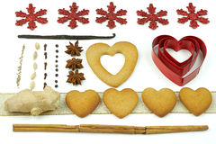 Composition of cookies and spices. Composition of heart shape cookies and spices Royalty Free Stock Photo