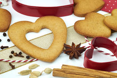 Composition of cookies and spices. Composition of heart shape cookies and spices royalty free stock photos