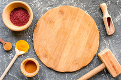 Composition of cooking tools and spices on kitchen table top view Royalty Free Stock Photos