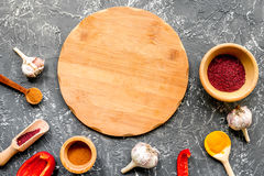 Composition of cooking tools and spices on kitchen table top view Royalty Free Stock Photography