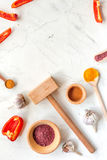 Composition of cooking tools and spices on kitchen table top view mockup Royalty Free Stock Photo