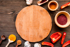Composition of cooking tools and spices on kitchen table top view Stock Images