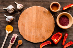 Composition of cooking tools and spices on kitchen table top view Stock Photos