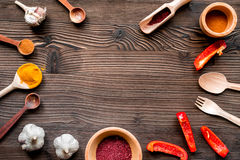 Composition of cooking tools and spices top view space for text Royalty Free Stock Photography