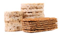 Composition of corn cracker and bread crisps. Stock Photography