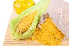 Composition from corn, maize flour and corn oil Stock Photography