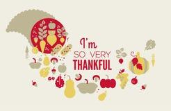 Composition with cornucopia. Thanksgiving composition with cornucopia illustration and seasonal greeting text. Autumn celebration stock illustration
