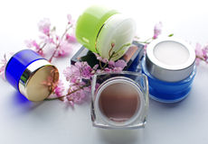 Composition of cosmetic products Stock Image