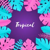 Composition with creative pink blue jungle leaves on violet background in paper cut style. Tropical leaf frame, template. For design poster, banner, flyer T Royalty Free Stock Photography
