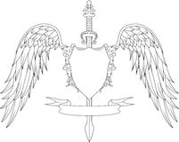 Composition with crown, swords, wings, badge and ribbon Stock Images