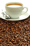 Composition with cup and coffee beans Royalty Free Stock Image