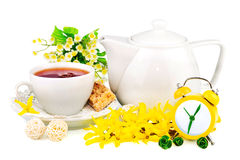 Composition from cup of tea, clock and spring flow Royalty Free Stock Photos