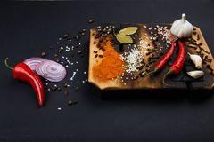 Composition with a cutting board, spices and hot pepper on a wooden background Stock Image
