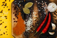 Composition with a cutting board, spices and hot pepper on a wooden background Stock Images