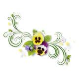 Composition décorative avec des fleurs de pensée illustration de vecteur