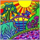 Composition décorative colorée artistique en paysage illustration libre de droits
