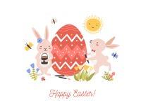 Composition décorative de fête avec des paires de beaux lapins ou lapins adorables décorant l'oeuf géant et les Joyeuses Pâques illustration libre de droits