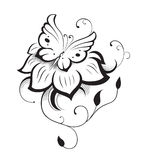 Composition décorative des boucles, de la fleur et du résumé ornementé Photos stock
