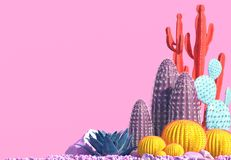 Composition décorative des groupes de différentes espèces de cactus multicolores sur le fond rose Art contemporain L'espace opy d illustration stock