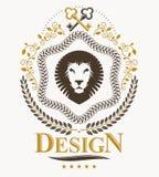 Composition décorative en emblème de vintage, vecteur héraldique Image libre de droits