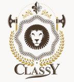 Composition décorative en emblème de vintage, vecteur héraldique Photos stock