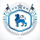 Composition décorative en emblème de vintage, vecteur héraldique Images libres de droits